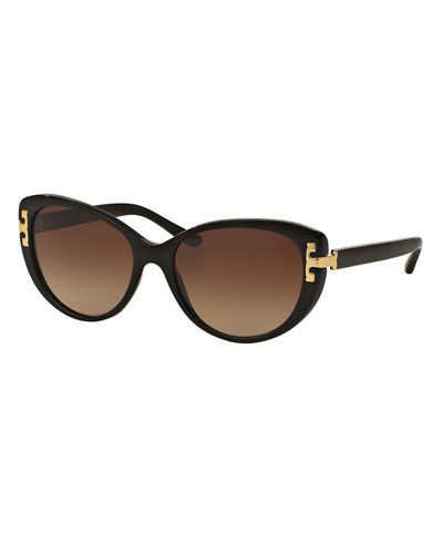 Universal-Fit Cat-Eye Sunglasses, Black