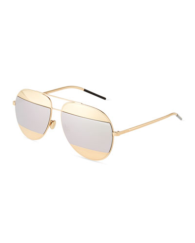 DiorSplit Two-Tone Metallic Aviator Sunglasses, Silver/Rose Golden
