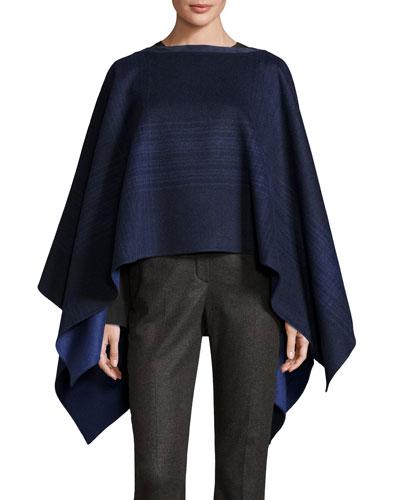 Liz Asymmetric Plaid Wool Poncho, Blue/Gray