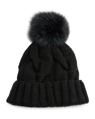 Baby Cashmere® Courchevel Beanie Hat, Black