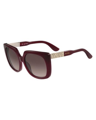 Oversized Square Paisley-Temple Sunglasses, Bordeaux