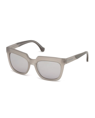 Textured Square Mirrored Sunglasses, Light Gray