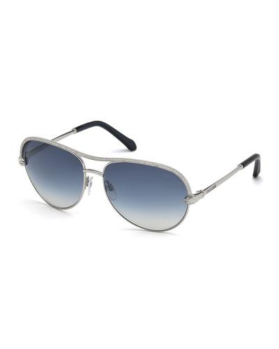 Vega Swarovski® Crystal Aviator Sunglasses, Silver/Blue