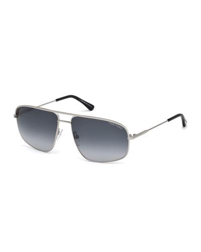 Justin Squared Aviator Sunglasses, Silver/Black