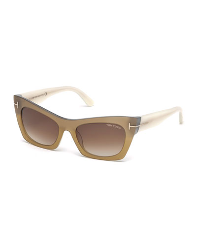 Kasia Two-Tone Cat-Eye Sunglasses, Bronze