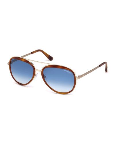Andy Trimmed Aviator Sunglasses, Rose Gold/Havana