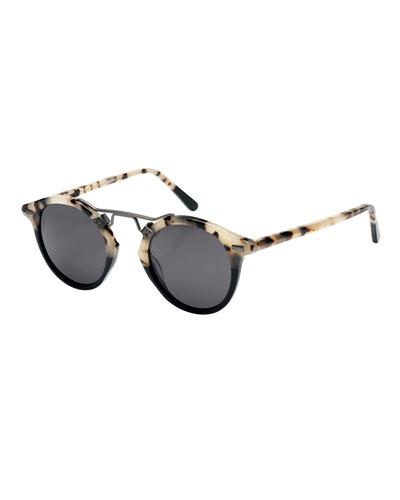 St. Louis Round Polarized Two-Tone Sunglasses, Oyster/Black
