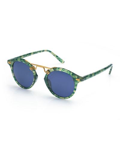 St. Louis Round Monochromatic Sunglasses, Ivy
