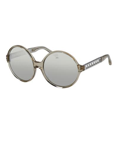 Round Acetate & Metal Sunglasses, White Gold/Platinum