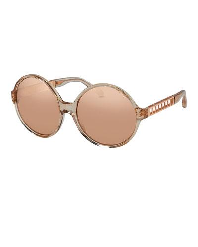Round Acetate & Metal Sunglasses, Rose Gold