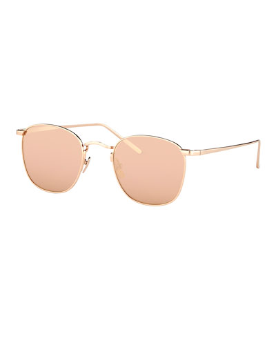 Mirrored Square Metal Sunglasses, Rose Gold