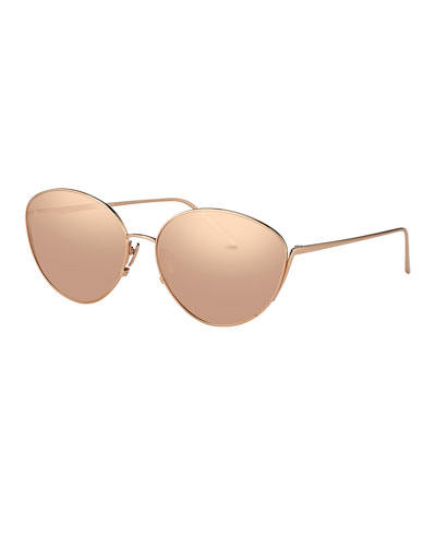 Mirrored Oval Sunglasses, Rose Gold