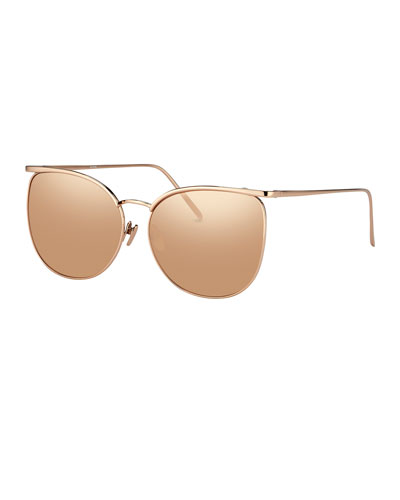 Semi-Rimless Square Sunglasses, Rose Gold