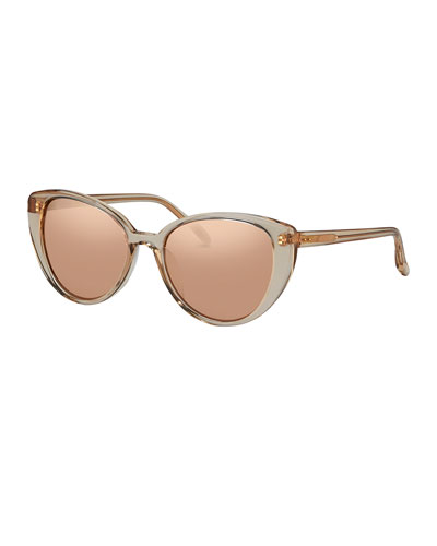 Mirrored Transparent Cat-Eye Sunglasses, Rose Gold