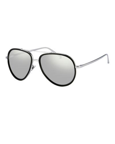 Two-Tone Aviator Sunglasses, White Gold/Platinum