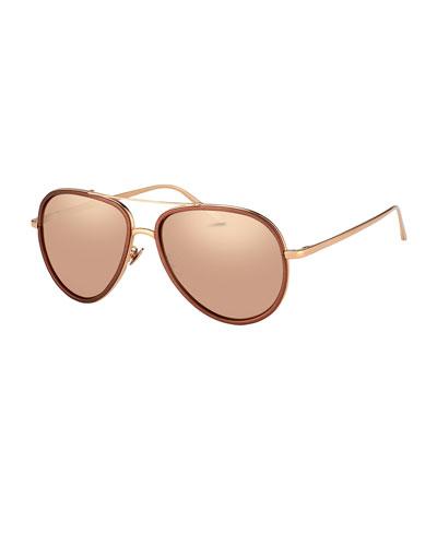 Two-Tone Aviator Sunglasses, Rose Gold