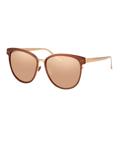 Square Two-Tone Sunglasses, Rose Gold