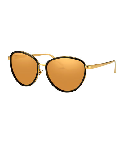 Rounded Cat-Eye Two-Tone Sunglasses, Yellow Gold/Black