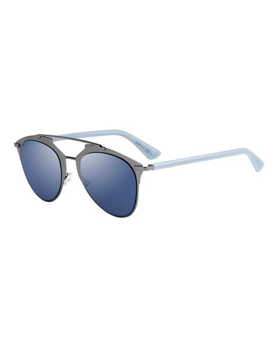 Reflected Mirrored Metal Brow-Bar Sunglasses, Pewter/Blue