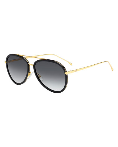Trimmed Gradient Aviator Sunglasses, Black