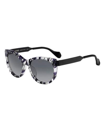 Slicky Square Streaked Sunglasses, Purple