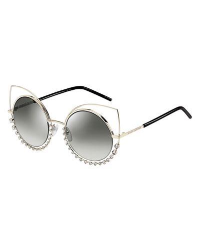 Metal-Rim Gradient Cat-Eye Sunglasses w/ Rhinestones, Light Gold