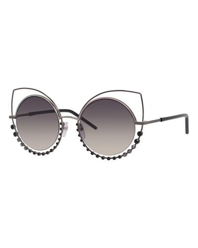 Metal-Rim Gradient Cat-Eye Sunglasses w/ Rhinestones, Pewter