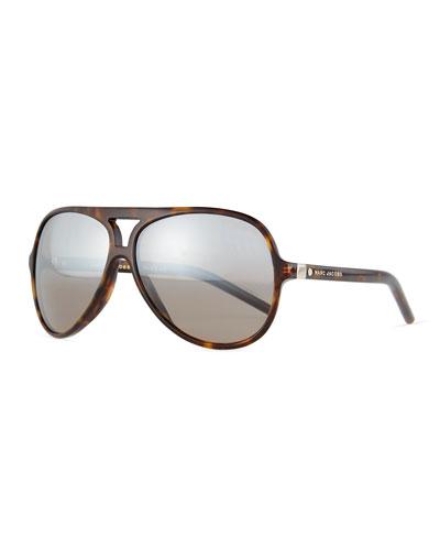 Mirrored Plastic Aviator Sunglasses, Dark Brown