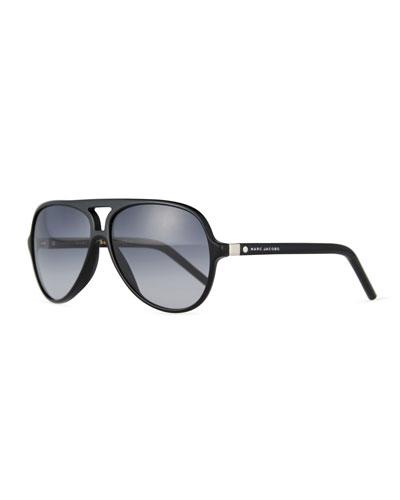 Gradient Plastic Aviator Sunglasses, Black