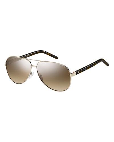 Metal Aviator Sunglasses, Dark Havana
