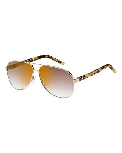 Metal Aviator Sunglasses, Spot Havana