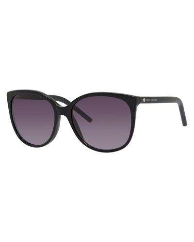 Rectangular Cat-Eye Sunglasses, Black/Purple