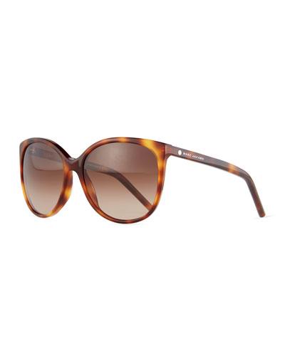 Rectangular Cat-Eye Sunglasses, Havana