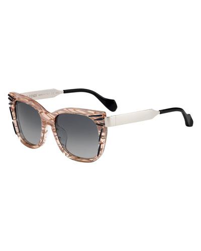 Streaked Square Sunglasses, Pink