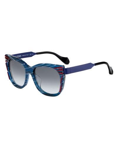 Streaked Square Sunglasses, Blue