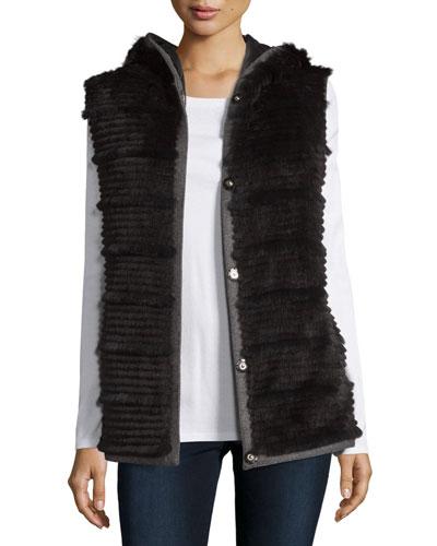 Hooded Reversible Rabbit Fur Vest, Black