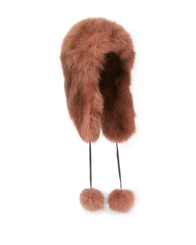 Fox Fur Trapper Hat, Brown
