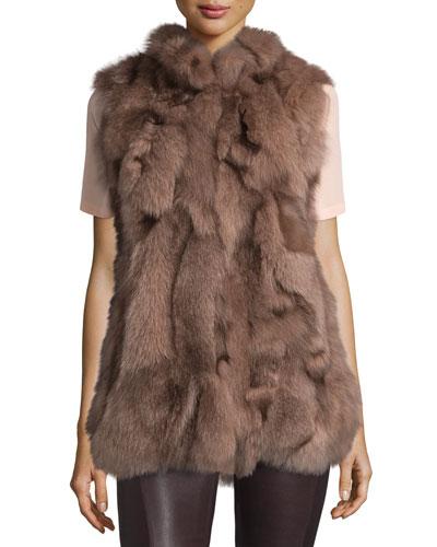Fox Patchwork Vest, Dusty Rose
