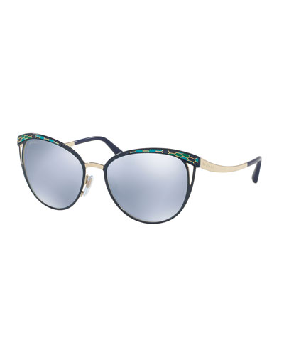 Etched Mirrored Butterfly Sunglasses, Blue/Gold