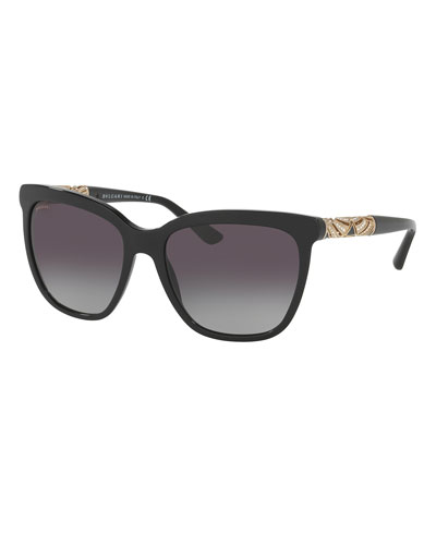 Square Metal-Temple Sunglasses, Black
