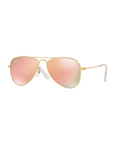 Mirrored Aviator Sunglasses, Pewter