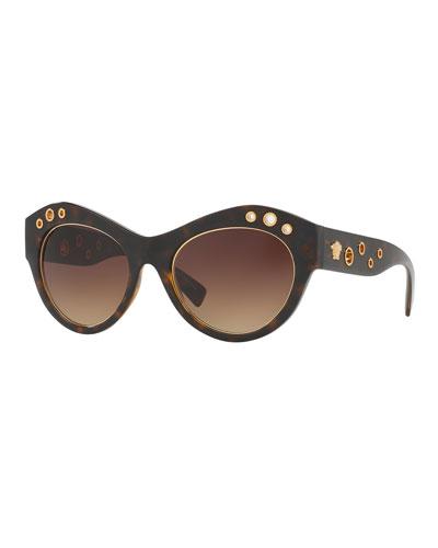 Grommet Cat-Eye Sunglasses, Havana