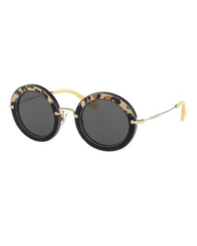 Round Velvet Sunglasses, Leopard/Gray