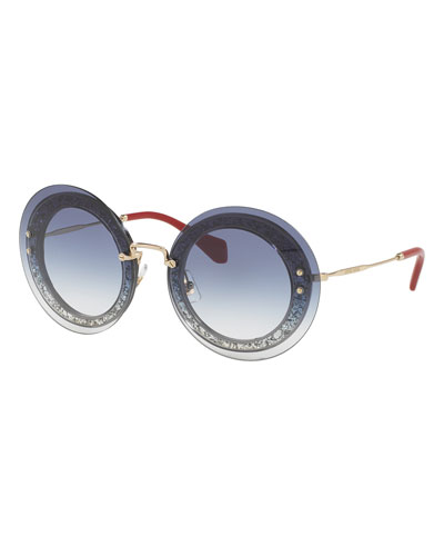 Round Glittered Overlay Sunglasses, Blue