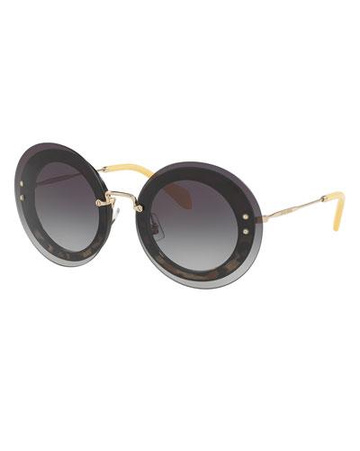 Round Overlay Sunglasses, Leopard