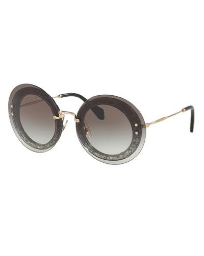 Round Glittered Overlay Sunglasses, Gray