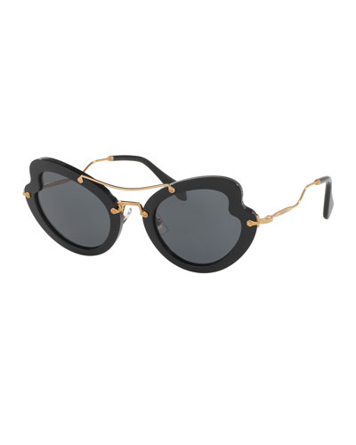 Waved Trimmed Monochromatic Sunglasses, Black