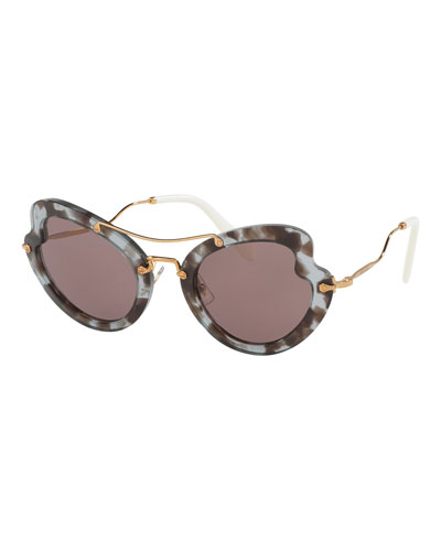 Waved Trimmed Monochromatic Sunglasses, Lilac Havana