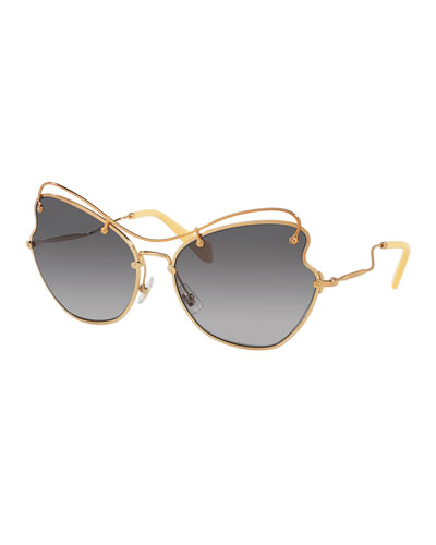 Gradient Waved Metal Sunglasses, Light Gray