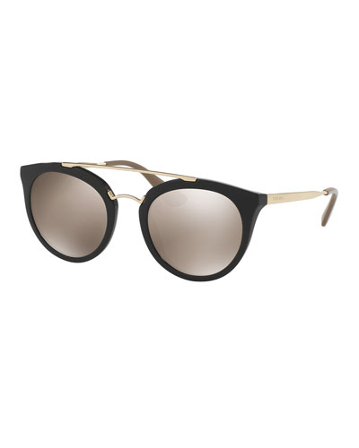 Mirrored Cat-Eye Double-Bridge Sunglasses, Black/Gold